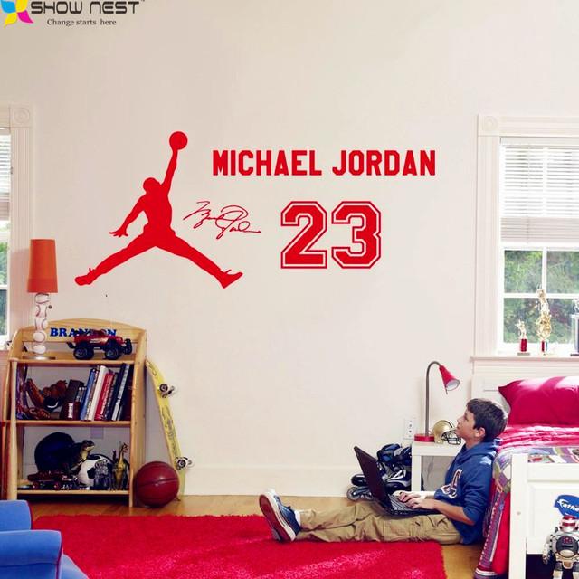Home decor basketball wall stickers michael jordan poster for Jordan bedroom ideas