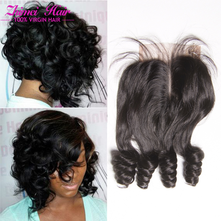 7A Unprocessed Virgin Indian Hair Closures 4*4inch Middle Part Loose Wave Closure Lace Free Part Baby Hair Closure 10-22inch(China (Mainland))