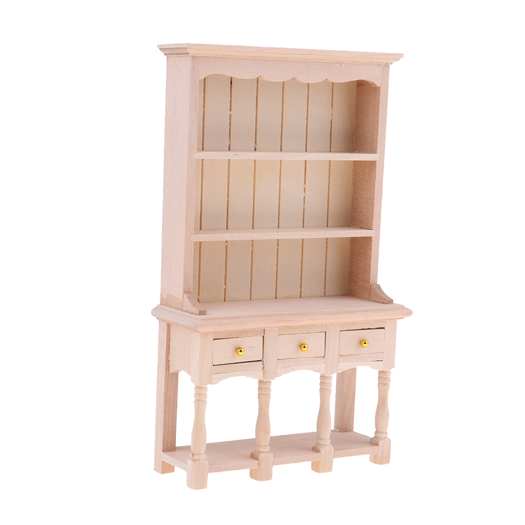 DIY Cabinet Model Kitchen Dining Cabinet Display Shelf Doll House Decoration 1:12 Dollhouse Miniatures