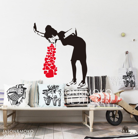 Home Decor Mural Art Wall Paper Stickers ~ Banksy lovesick vinyl wall decal sticker home art decor