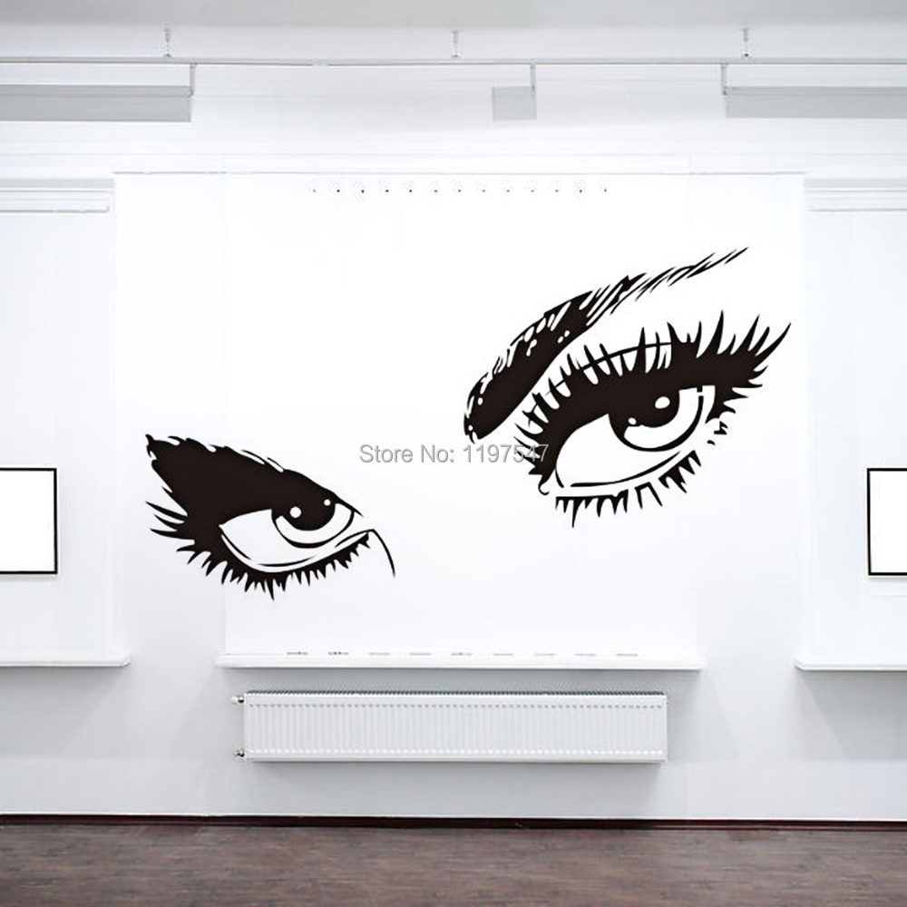 small size sexy eyes pvc wall stickers mural art decal wall decals vinyl sticker decal make up girl eyes model
