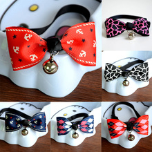 1Pcs Safety Dog Cat Pet Collar Cute Bow Tie Dog Collars With Bell Puppy Kitten Necktie Collar 6 Colors Free Shipping(China (Mainland))