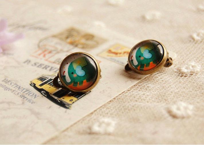 Woman lady Fashion Earring Clips Retro vintage Ear Clips Cute jewelry Clip Earrings lovely glass Earrings ear product  accessory