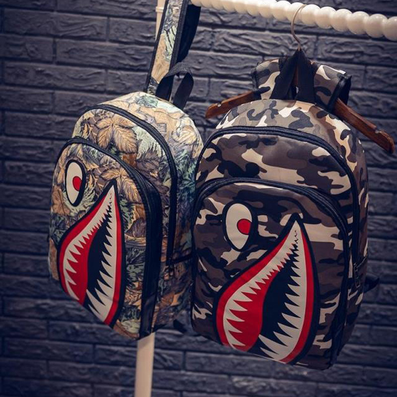fashion new individuality cartoon backpack shark Big mouth canvas Travel bag women shoulder bag girl student backpack<br><br>Aliexpress
