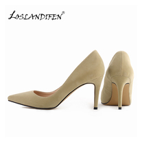 Classic Sexy Pointed Toe mid High Heels Women Pumps Shoes Faux Suede Spring Brand Wedding Pumps Big Size 35-42 10 Color