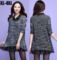 2015new spring large size loose knitted shirt female long sleeve Casual t shirt polka dot chiffon