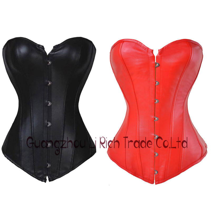 X Summer Dress Sexy Black/Red Cool Bustier Lace up Faux Leather Buckle Overbust Corset Plus Size Read our size chart(China (Mainland))