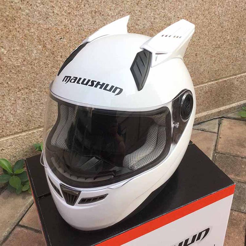 2015 MALUSHUN Men White and Black Full Face Helmet Motorcycle With Horn Adult Safety Motorcycle Racing Crash Helmet ECE(China (Mainland))