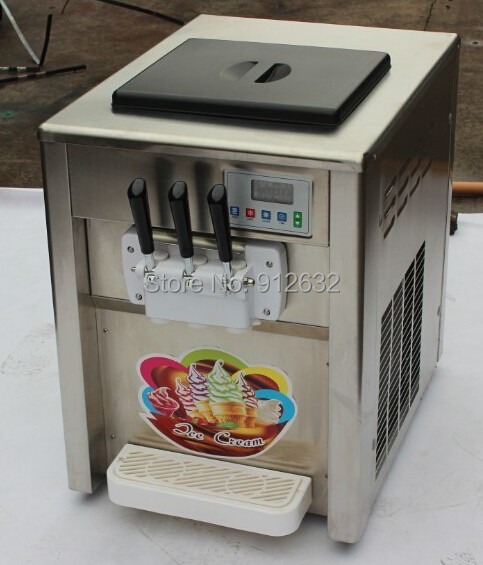 18L 3 flavour Stainless steel table ice cream making machine, Soft ice cream making machine