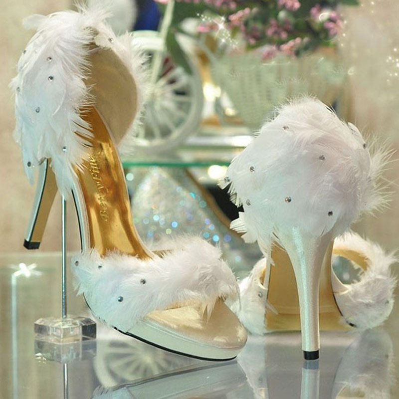 2013 New Style Fashion Ladies White Satin Feather Wedding Bridesmaid Party Prom Dress Heels Shoes evening party dress shoes<br><br>Aliexpress