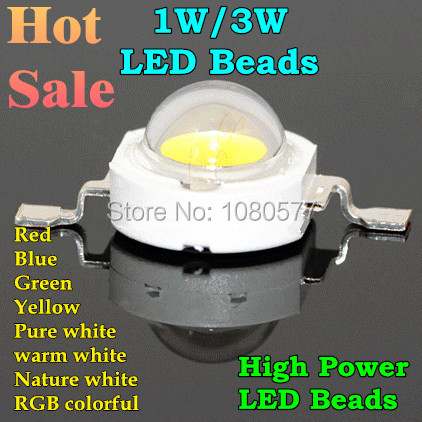 LED 1w 3w High Power LED Chip, RGB Red Green Blue Yellow Cold White Nature White Warm White Light Source(China (Mainland))