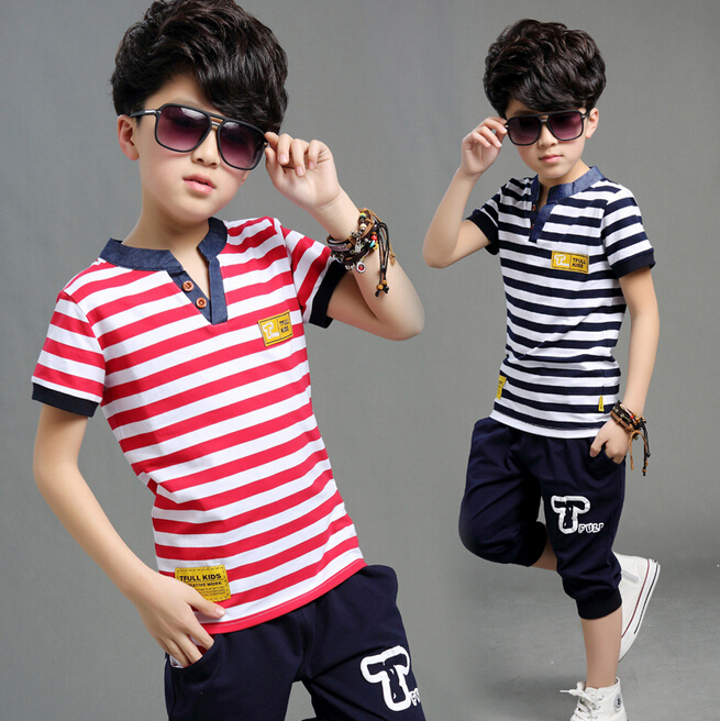 T shirt + Pant Short sleeve Summer Leisure Boys Sets suit Children Strip Kids Setstripe harem pants set 5-14 years old Bos.WT-2(China (Mainland))