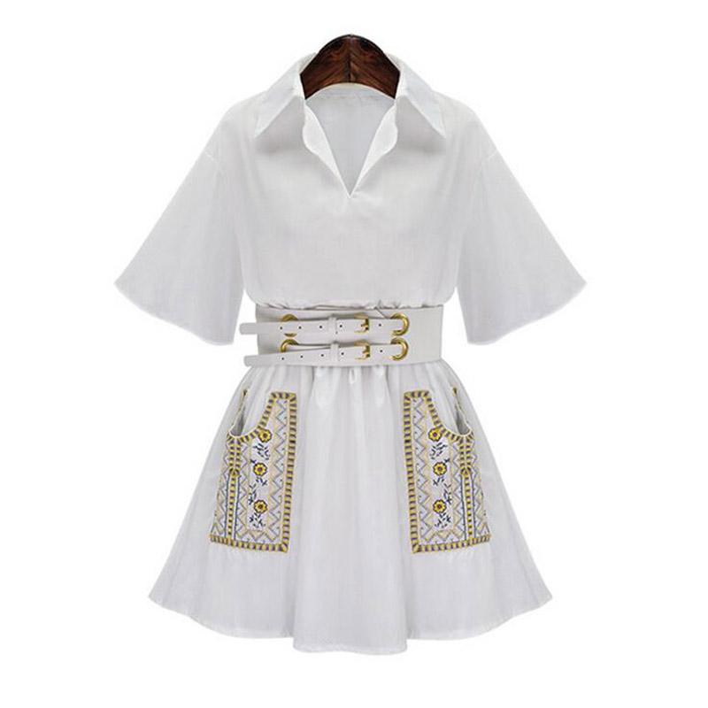 fashion embroidery white shirt dresses 2016