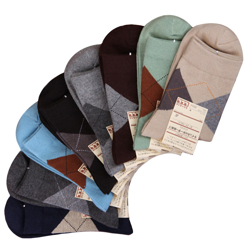 2015 New Summer Cotton Men Socks Sport Classic Rhombus Men Brand Socks Casual Men Socks Spring Hot 6pairs/Lot(China (Mainland))