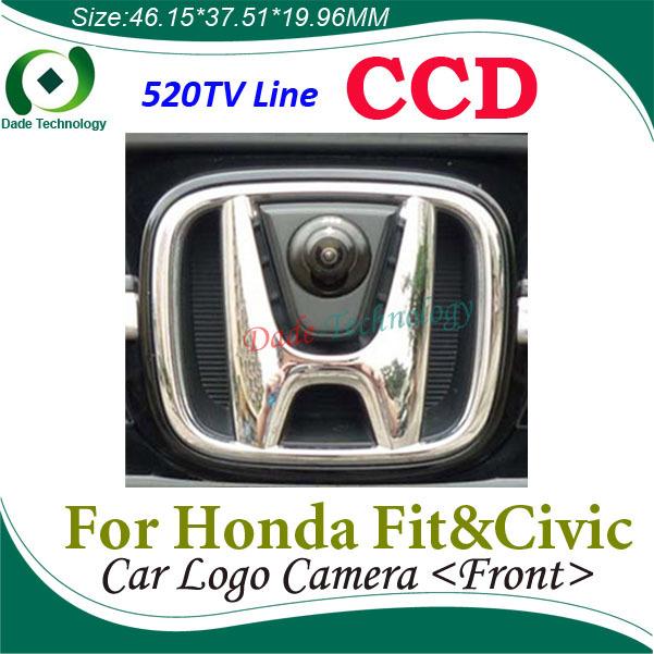 "Night vision Color HD CCD 1/3"" auto Vehicle logo Front view camera For Honda Fit & Civic 170 degree car front view camera(China (Mainland))"