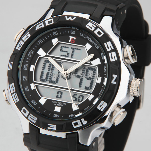 watches men luxury brand T5 sports military fashion watches Dual Time Quartz Analog Digital LED rubber