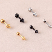 2 piece 1.2x8x3mm,4mm Stainless Steel Tragus Earring Ball and Spike Barbell Ear Piercing Cartilage Ring Jewelry For Men Women(China (Mainland))