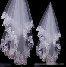 New White Ivory Floral Wedding Bridal With Veil Appliques Edge(China (Mainland))