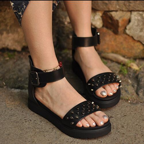 Womens shoes fashion casual rivet leather sandals comfortable handsome platform wedges platform sandals free shipping<br>