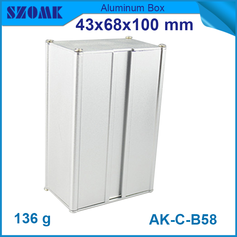 4pcs/lot aluminum boxes 43x68x100 mm in silver color aluminum control electronic cases which used to GPS(China (Mainland))