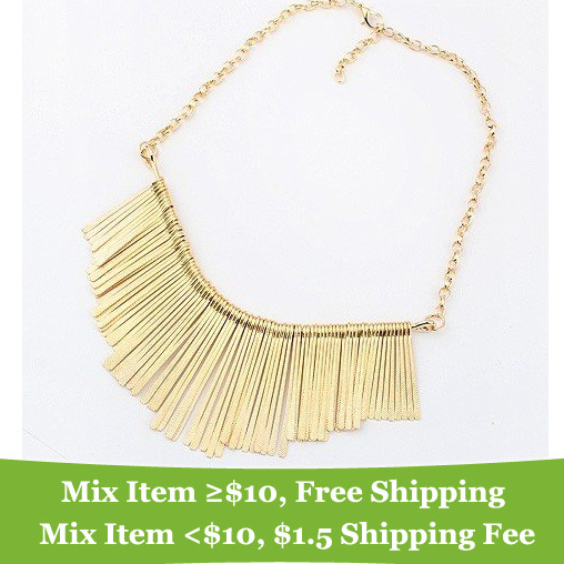 Europe and the United States mashup punk spike choker necklace Vintage tassel gold statement necklaces Jewelry for women 2014(China (Mainland))
