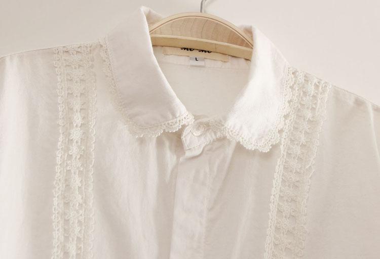 White Cotton Blouses Collar Blouses
