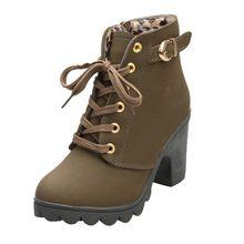 Stiefel Frauen Winter Schuhe Frau High Heel Lace Up Ankle Stiefel Schnalle Plattform Künstliche Leder Frauen Schuhe zapatos de mujer(China)
