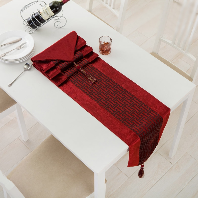 New Arrive Elegant Modern Table Flag Runners Luxury Tablecloth Cloth Towel Cover Overlays with Tassels Tafelkleed(China (Mainland))