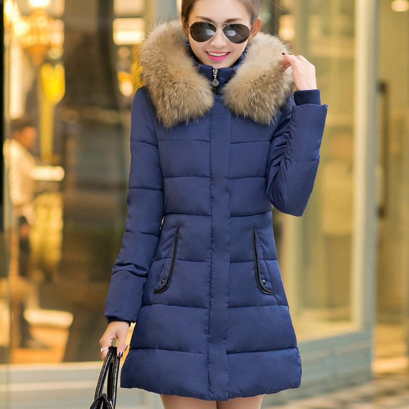 Korean girls long size slim cotton padded jacket dress thick winter coat women parka arm clothes - D-L-168 store