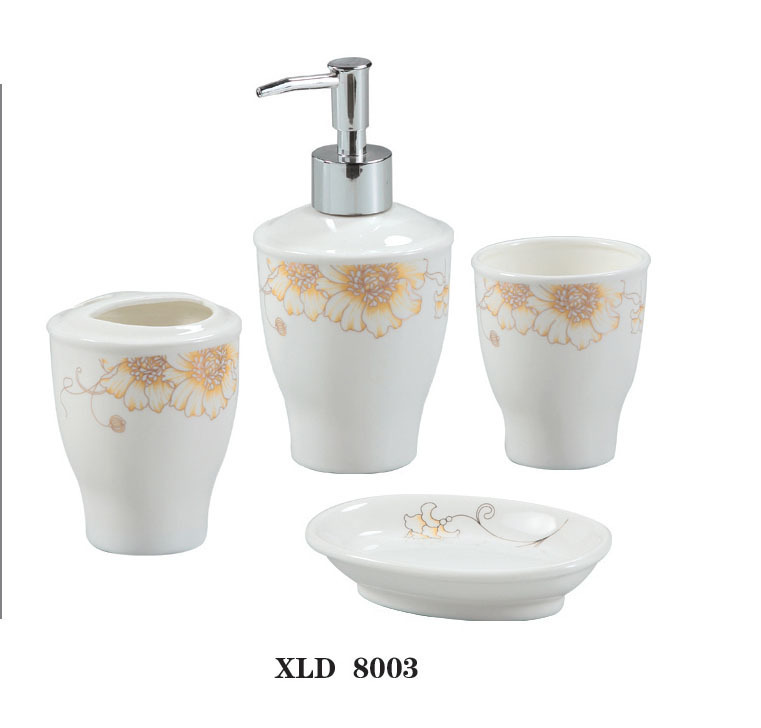 Xld8003 wonderful 4 piece ceramic bathroom accessories set for Bathroom vanity accessories