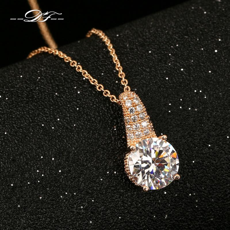 Micro Pave Cubic Zirconia Necklaces & Pendants 18KRGP Fashion Brand Vintage CZ Diamond Jewelry For Women Accessiories DFN317(China (Mainland))
