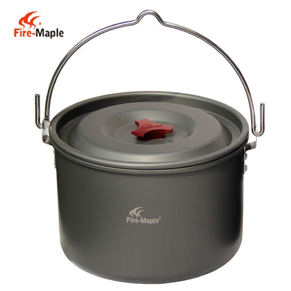 High Quality 5L Outdoor Hanging Pot Aluminum for 4-5 People Cooking Camping Cookware(China (Mainland))