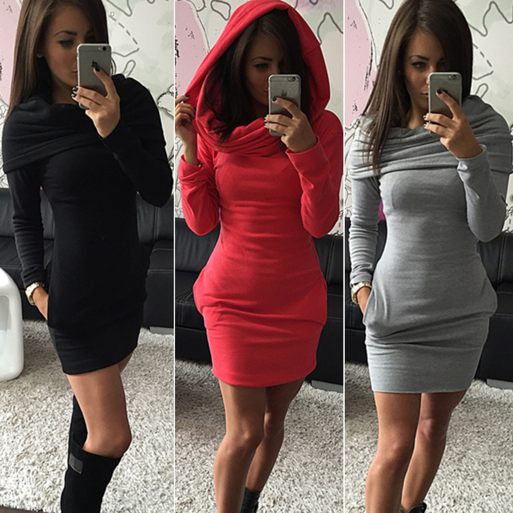 Plus size hooded sweater dress