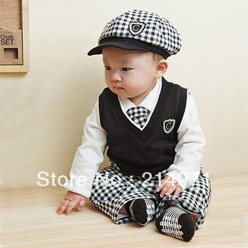 baby clothing set boy hat+tie+t-shirt+vest+pants suit winter infant clothes spring gentleman suit for children 5sets/lot(China (Mainland))