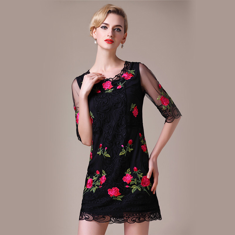 2016 New Spring And Summer Large Size Women Black Half Sleeve Red Rose Flower Wave Embroidery Slim Dress(China (Mainland))