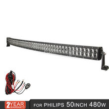 480w 50 inch curved Led work Light Bar For Philips
