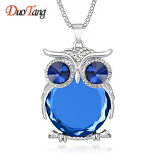 DuoTang High Quality Vintage Necklaces Zinc Alloy Crystal Jewelry Owl Necklace Pendant Long Popcorn Chain Necklace For Women(China (Mainland))