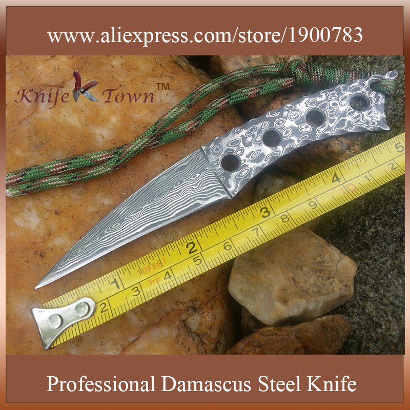 Buy DT108 Sharp damascus steel blade knife multi mini bayonet knife edc outdoor knives hunting knife camping gift oxota couteau cheap