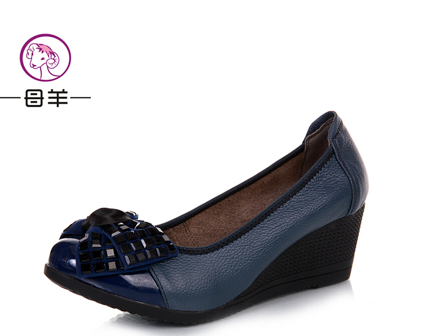2013 New Style Fashion Casual Genuine Leather Wedges Shoes For Women Short Hairstyle 2013