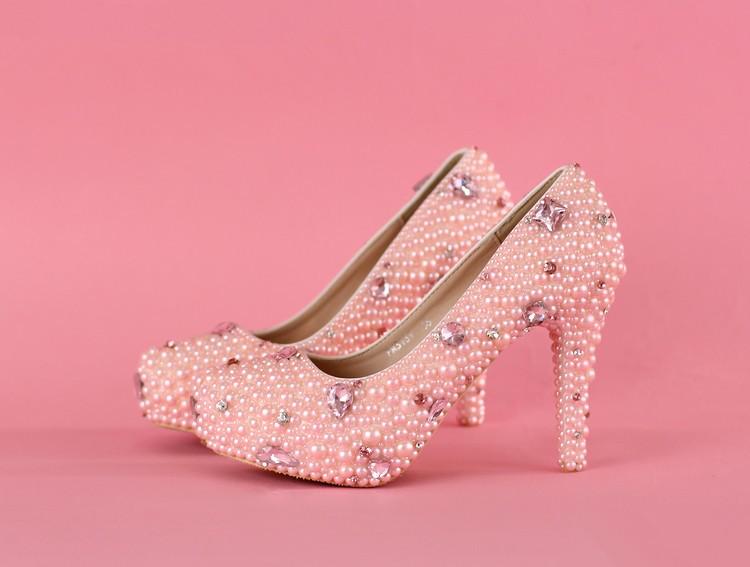 High heels platform shoes elegant white pearl wedding shoes genuine leather women's rhinestone pumps frees hipping