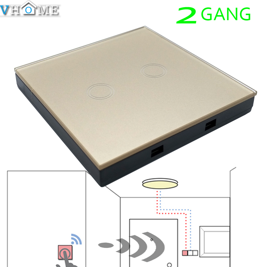 Vhome Wireless RF433MHZ golden switch panel shape Remote Control Transmitte for Touch Light Switch,garage door,electric curtains(China (Mainland))