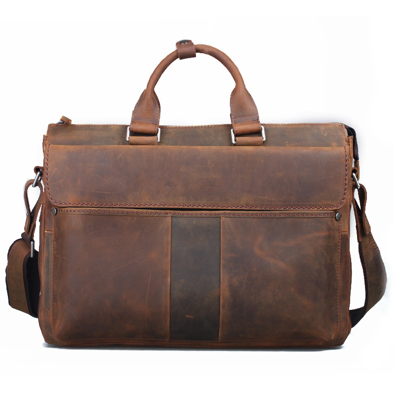 Free shipping Cattle 2014 crazy horse vintage leather briefcase large capacity 16 handbag cross-body one shoulder man bag 1096(China (Mainland))