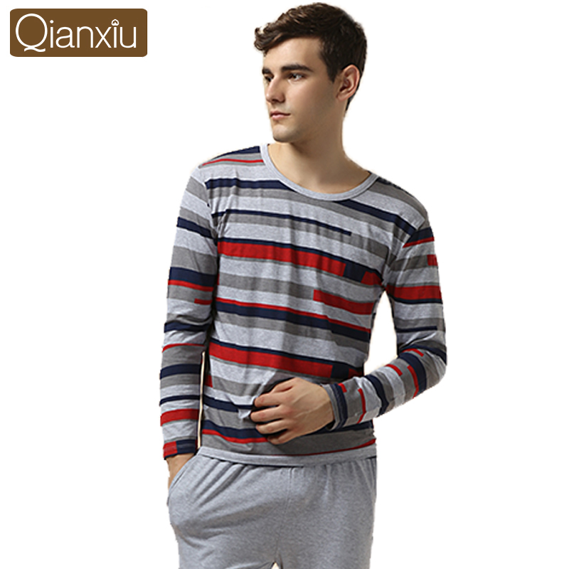 Qianxiu Brand Pajamas Casual Stripes Men Pajama Set Plus Size Sleepwear Modal Cotton Home Dress for men Free Shipping