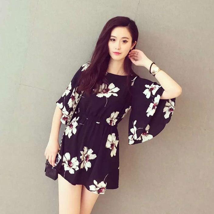 X92 black flower girl lipsy dresses celebrity maternity sweater night dresses korean fashion flare sleeve cheap dresses(China (Mainland))