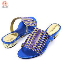 Curto 3.8cm saltos italianos sapatos sem correspondência sacos conjunto para festa africano nigéria sapato de casamento para combinar com pedras azul real(China)