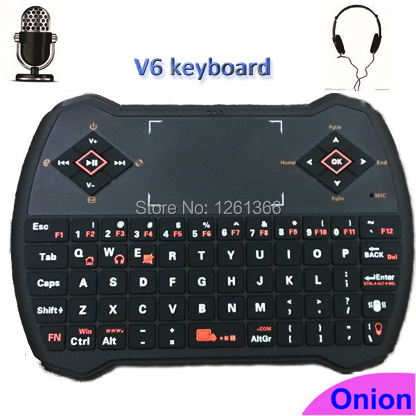 Super ultra Microphone Earphone 2.4GHz Mini Voice Wireless Keyboard V6 with Touchpad Remote for Mini PC Desktops Laptops i9 plus(China (Mainland))