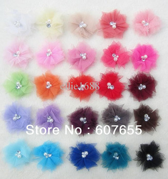 free shipping300pcs/lot 2.5inches Mini Tulle Mesh Flowers With Rhinestone Pearl Center Poof Flowers headband Accessories25color
