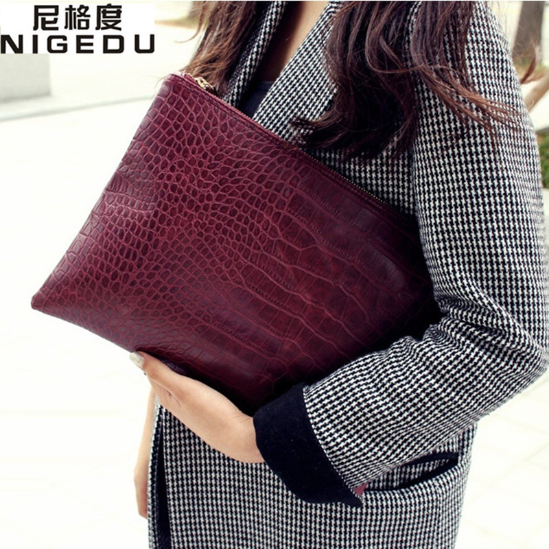 Fashion crocodile grain women s clutch bag leather women envelope bag clutch evening bag female Clutches