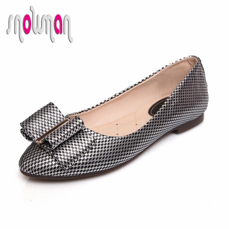 Spring Rubber Sole Boat Shoes 2016 Genuine Leather Flats Concise Flat Sole Shoes Woman Shoes Fashion Bowtie Charm Zapatos Mujer