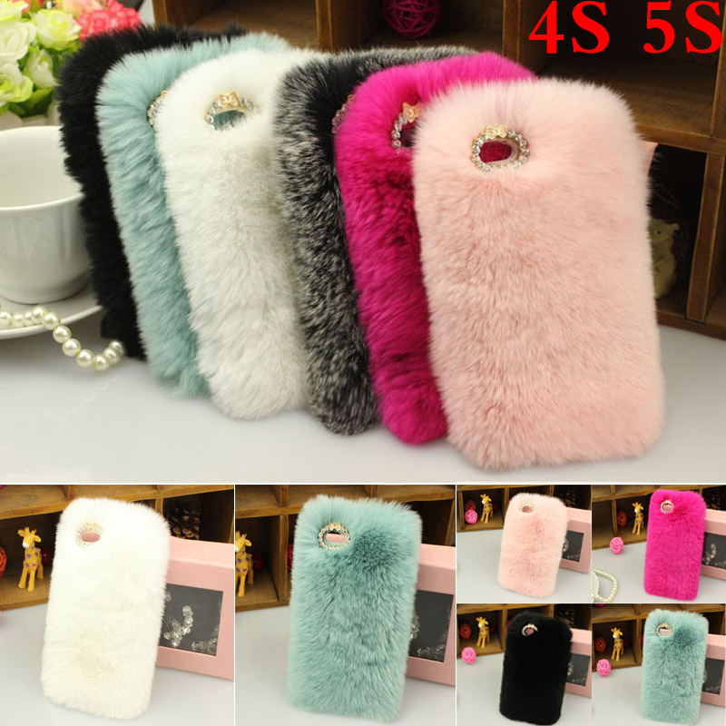 Brand New Soft Hairs Plush Phone cases iphone 5S/4S Cover Rabbit Fur Hair Back fuzzy Case - ShenZhen Kala Trade Co., Ltd. store